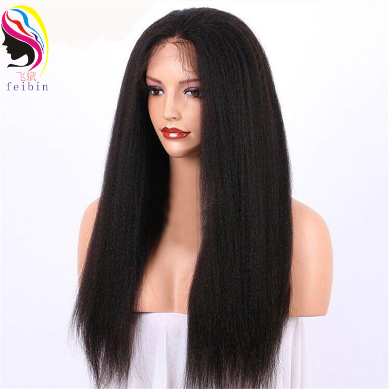 Feibin Synthetic Lace Front Wig For Women Black Long Loose Wave24inch Nature Hair Wig High Temperature Fiber E23-4