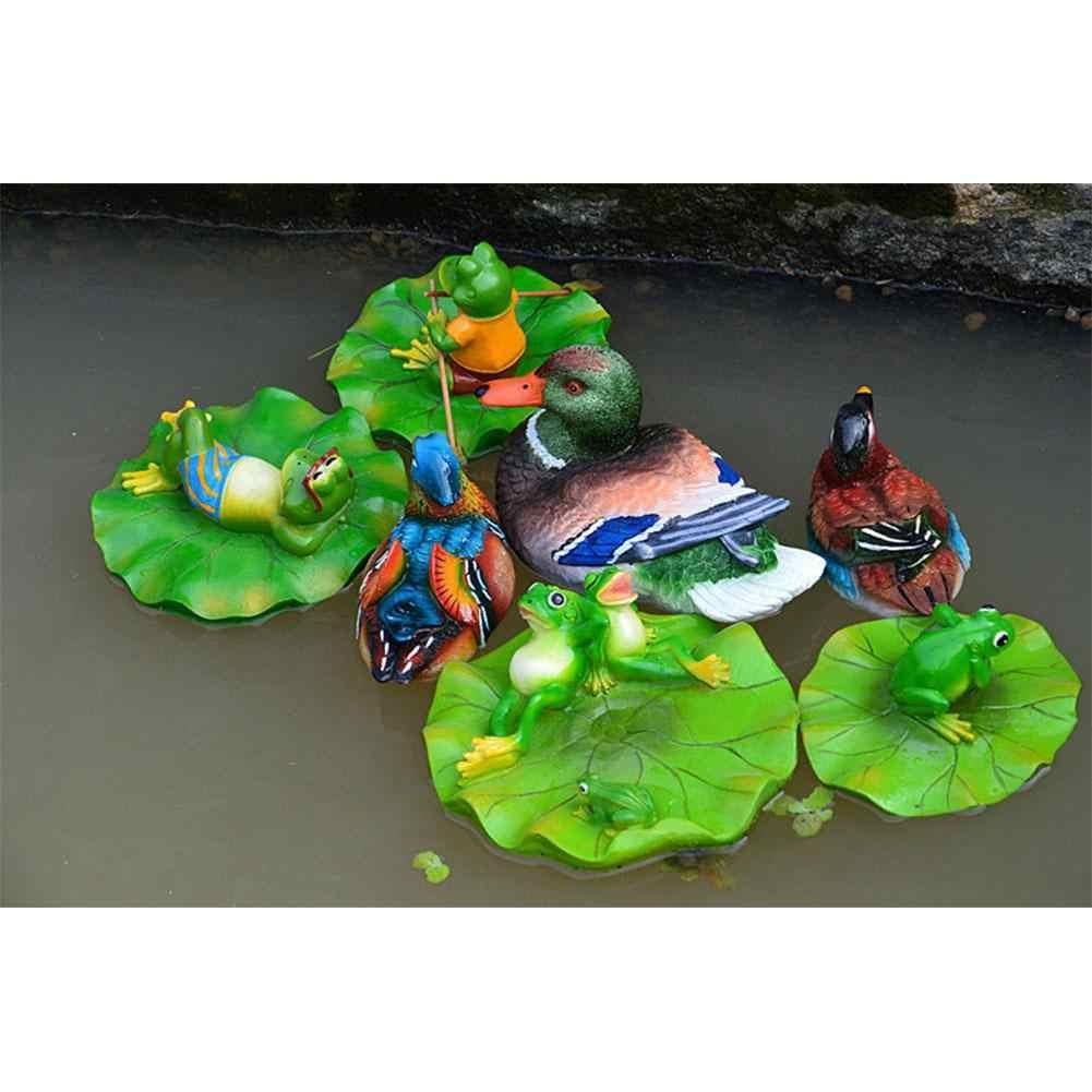 Ogród trawnik na zewnątrz basen pływający żaba Model rzeźby Ornament Decor żywicy zabawki liści lotosu żaba staw/oczko wodne pływak rzeźby rzeźby