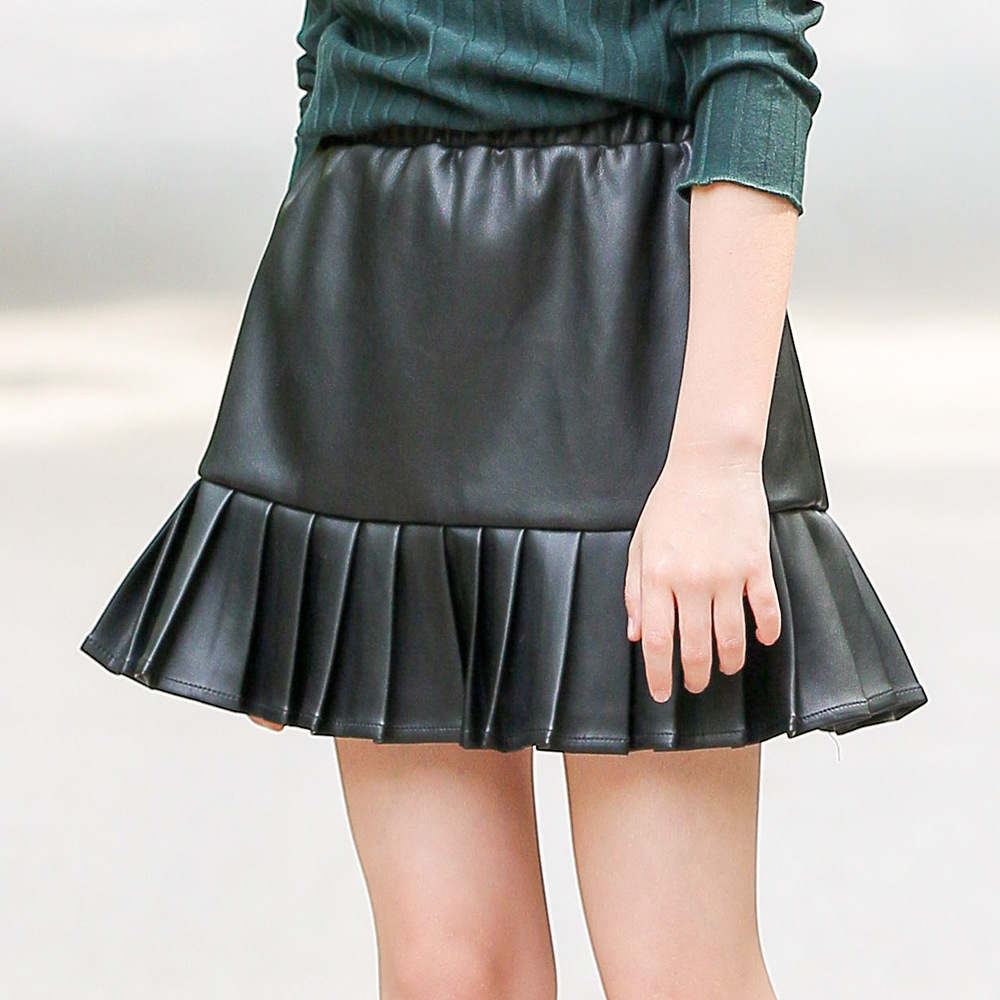 Pu Leather Teenage Skirts For Kids Black High Waist -9193