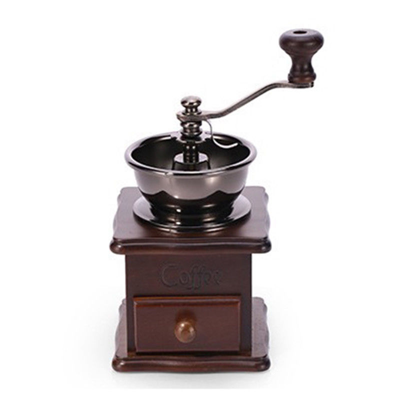 Classical Wooden Manual Coffee Grinder Hand Stainless Steel Retro Coffee Spice Mini Burr Mill With High-quality Ceramic Millston coffee percolator