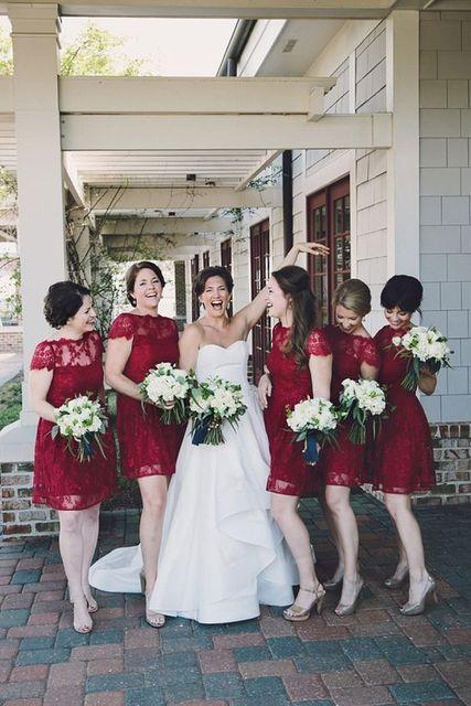 17d463b9de Vintage Deep Red Lace Scoop Neck Bridesmaid Dress Custom made Short Wedding  Party Dress