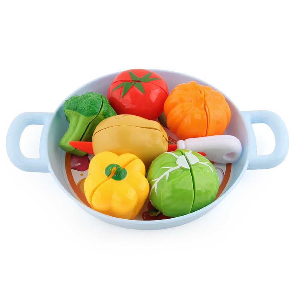 Meninas Brinquedos de Cozinha Simulação Conjunto Miniatura Fruta Vegetal Conjunto De Corte Crianças Pretend Play House Alimentos Falsificados Brinquedos para As Crianças