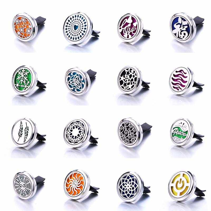 Best Selling Style Car Clip Aromatherapy Essential Oil Diffuser Car Air Outlet Freshener Stainless Steel Perfume Locket Pendant
