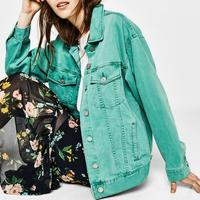 2019 Spring new arrival fashion denim coat for women candy color long sleeve loose jeans jacket coats 4 color plus size
