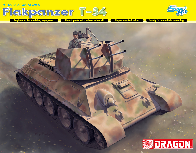 Dragon 6599 1/35 Flakpanzer T-34 plastic model kit realts dragon 6746 1 35 flak 43 flakpanzer iv ostwind w zimmerit