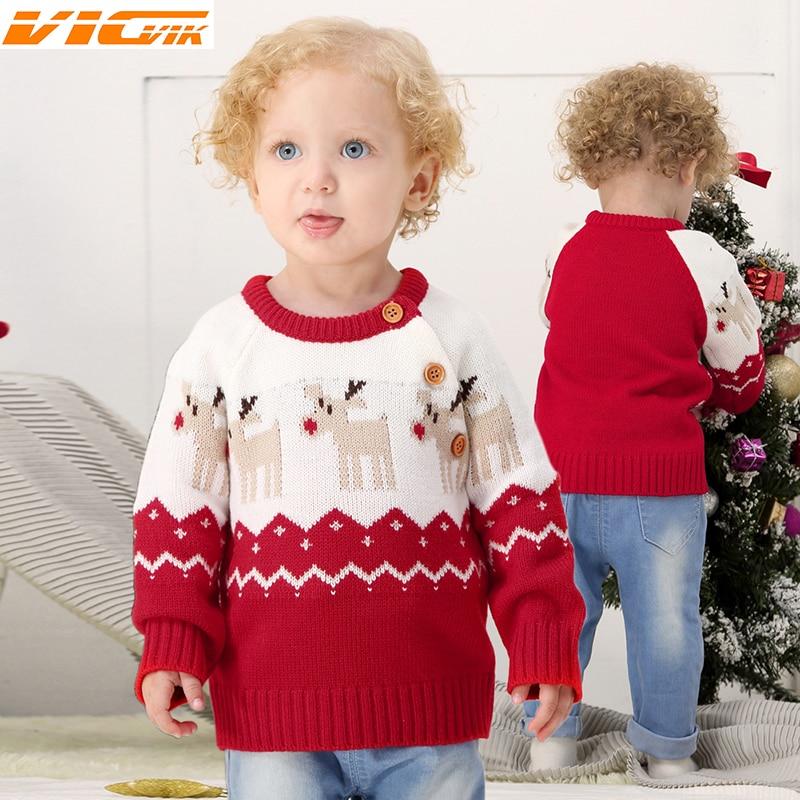 Christmas Deer Knitting Pattern Kids Sweater Baby Boys ...