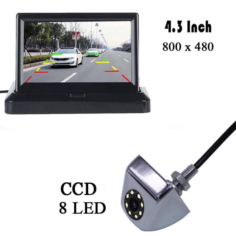 HD 4.3 Inch Parking Auto Rearview Monitor CCD 8 LEDs Night Vision CCD Rear View Auto Parking Camera With Monitors Car Mirror