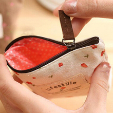 FangNymph Mini Floral Canvas Coin Cases Keys Bags Card Change Purse Zip Wallets