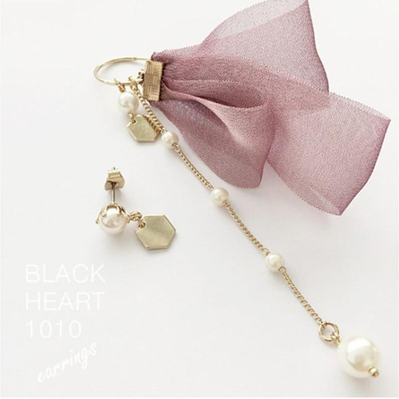 2018 Korean Sweet Ribbon Bow Simulated Pearl Chain Drop Earrings Asymmetric Earring for Women Wedding Bridal Jewerly Gift