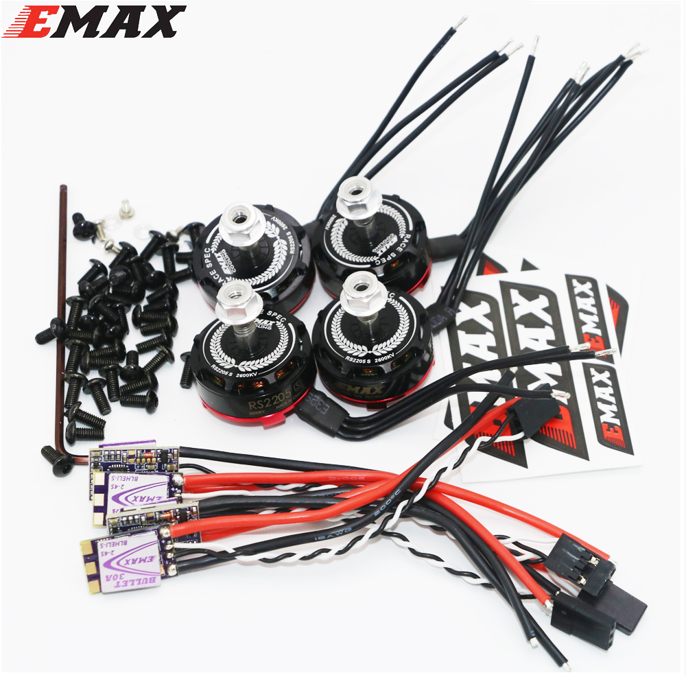 4set/lot EMAX RS2205S 2300KV/2600KV RaceSpec Brushless Motor With Bullet 30A BLHELI_S D-SHOT Power Combo For RC Quadcopter 4set lot original emax mt2216 810kv plus thread brushless motor 2 cw 2 ccw for multirotor quadcopters with 1045 propeller
