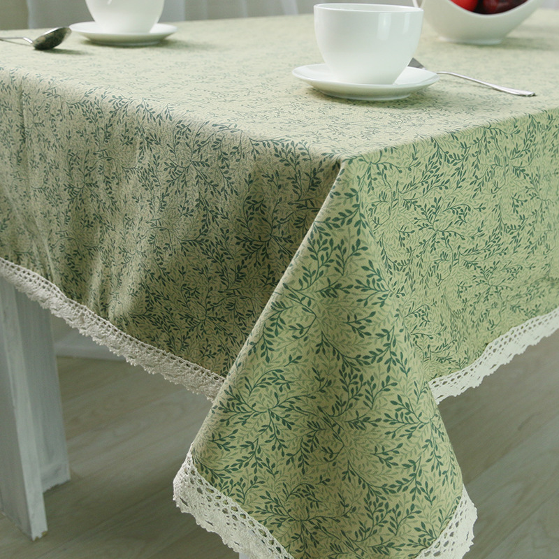 Krorean Linen Table Cloth Rectangular Green Leaves Printed Tablecloth with Lace Edge Dustproof Table Covers Home Decoration