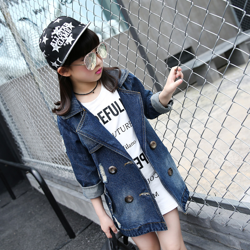Children fall new denim jacket girls South Korea fashion leisure coat blue letters printing children clothes