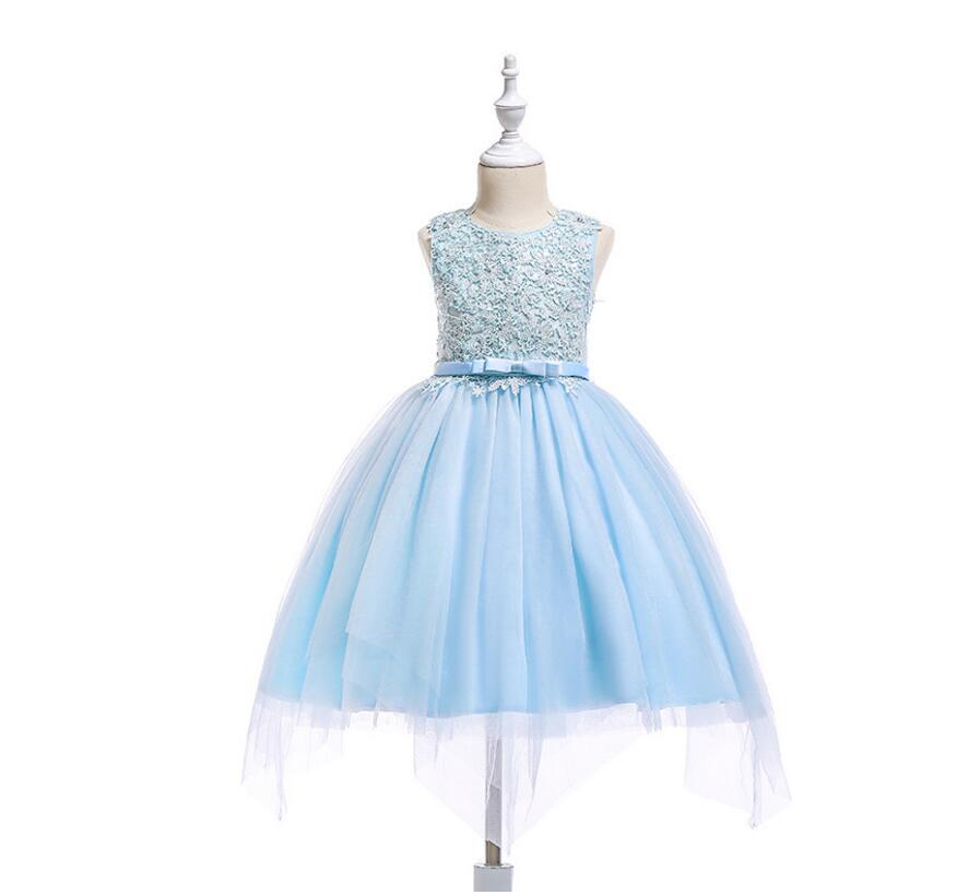2018 Boutique Bloemen Mesh Vest Jurken Voor Meisjes Prinses, Kinderen Mode Bloem Party Roze Blauw Jurk 6 Stks/partij, Groothandel Een Brede Selectie Kleuren En Motieven