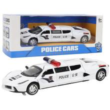 Extended Version Police Diecast Cars Toy Alloy Metal Vehicle with Pull Back Flashing Model Toy With 4 Doors For Kids Children(China)