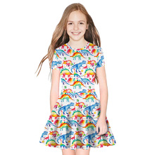 New Summer Girls Dress Kids Print Short Sleeve Dress Fashion Dinosaur Princess Casual Clothing b s123 new fashion spring girls elegant dresses summer short sleeve princess dress 5 14t teenager kids solid color lace dress