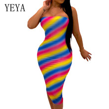 YEYA Sexy Off Shoulder Sleeveless Slim Pencil Dress Women Elegant Vintage Tie Dyeing Bodycon Bandage Summer Femme Wear