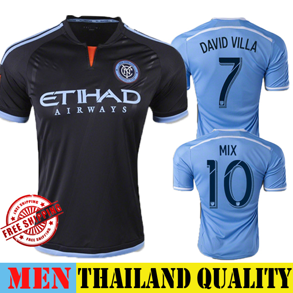 2015 New York City FC Jersey 14 15 NYCFC Soccer Jersey DAVID VILLA Home Sky  Blue Away Black Football Shirt LAMPARD CUSTOMIZE MIX 04d73fdb74cb