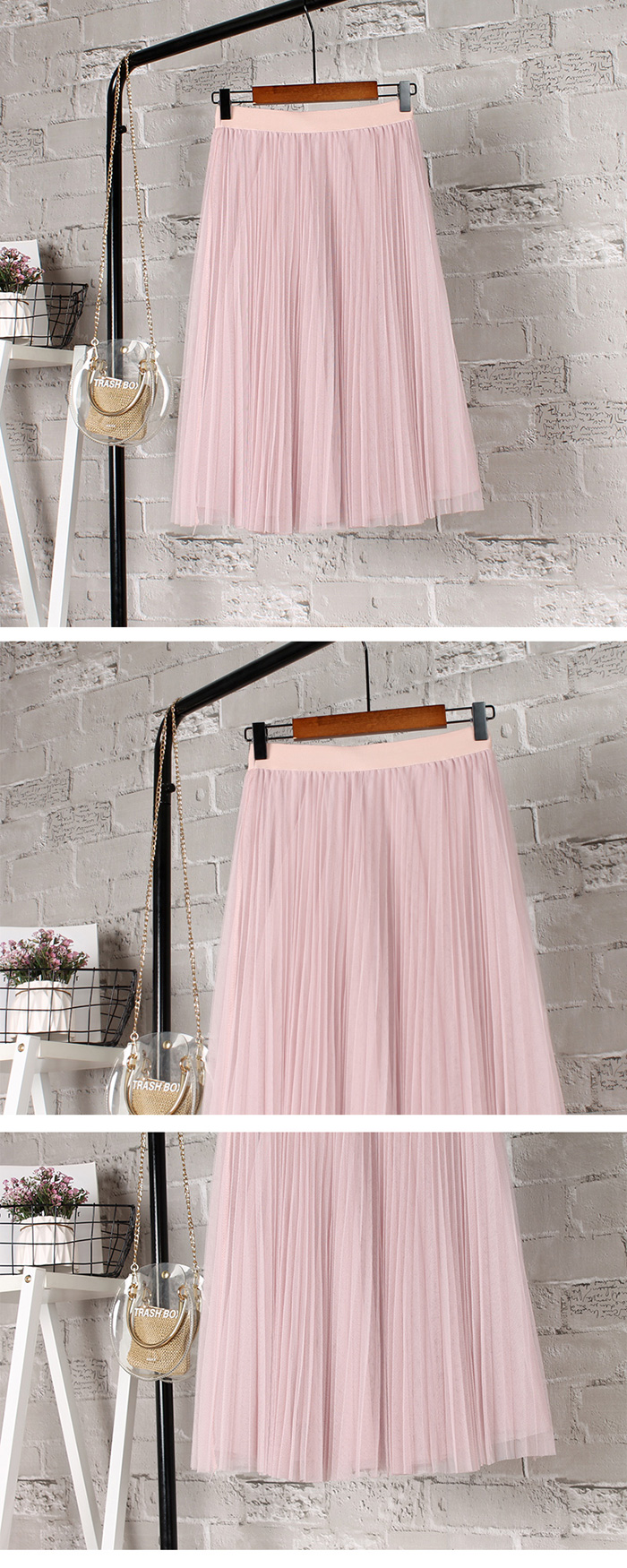 HTB1FDIfLxnaK1RjSZFtq6zC2VXaX - Tulle Skirts Womens Midi Pleated Skirt Black Pink Tulle Skirt Women Spring Summer Korean Elastic High Waist Mesh Tutu Skirt