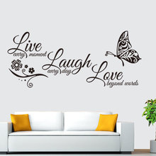 Live Laugh Love Butterfly Flower Wall Art Sticker Decals Quotes Vinyls Stickers Home Decor Living Room