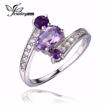 JewelryPalace 925 Sterling Silver zero.9ct Pure Amethyst three Stone Anniversary Ring Ladies Get together High-quality Jewellery 2016 Model New