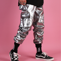 Men Pants Casual Leather Harem Pant Male Streetwear Hip Hop Punk Silver Multi Pocket Cargo Trouser Stage Clothes DJ Singer Pant