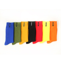 Big Size Socks Men Combed Cotton Bright Solid Color Business Dress Socks Embroidery Days Of The