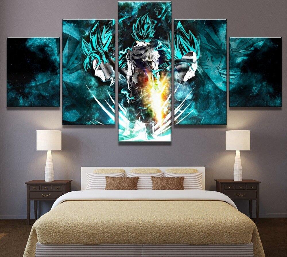 5 Piece HD Print Dragon Ball Super Goku And Vegeta Poster Paintings on Canvas Wall Art