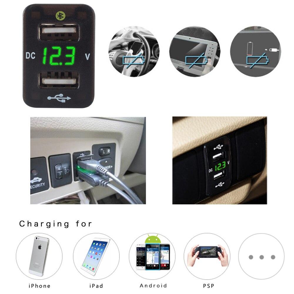 3.1a Dual Usb Auto Ladegerät Adapter Dc 12-24 V Auto Zigarette Leichter Für Ios/android Mit Bluethooth Spannung Display Für Toyota