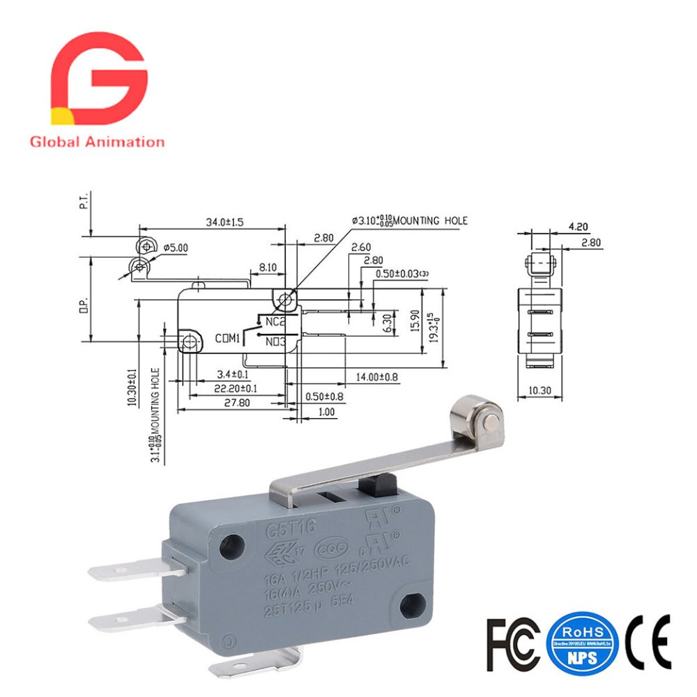 Roller Micro Switch Spdt Wiring Diagram Trusted Push Pull No Nc Momentary Switches 10 Piece Lever Arm V
