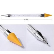 Double head nail pen crystal beads handle rhinestone earrings pick crayon manicure nail tool diamond painting tools
