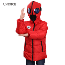 2016 New Children's Winter Jackets Boys Winter Coats Kids Boys Girls Warm Thick Hooded With Glasses Coats For Teenage Clothes