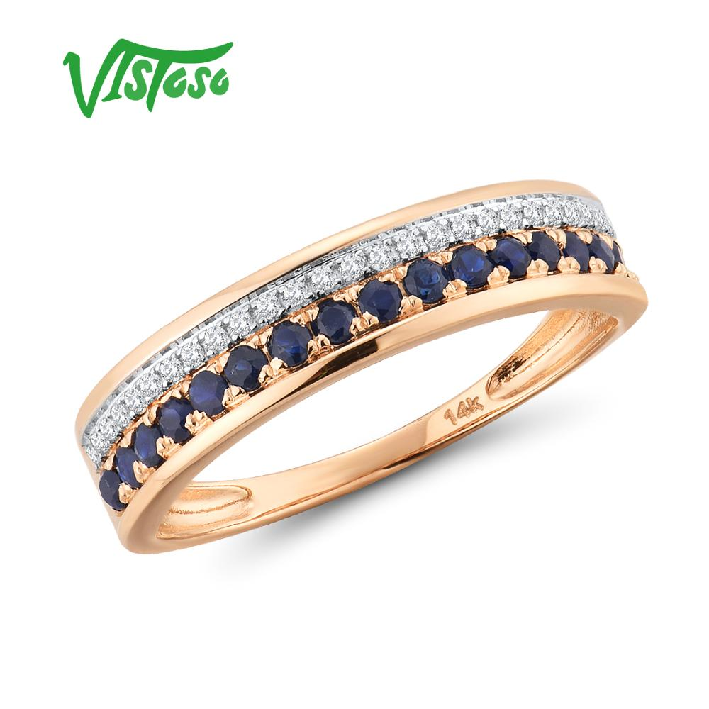 Image 3 - VISTOSO 14K Rose Gold Rings For Lady Genuine Shiny Diamond Fancy Ruby Sapphire Emerald Engagement Anniversary Chic Fine Jewelry-in Rings from Jewelry & Accessories