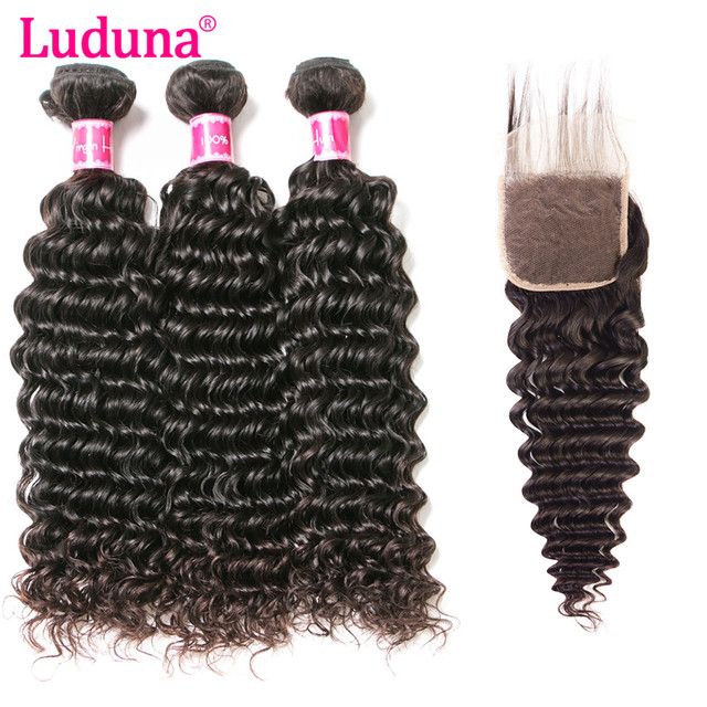 Luduna Deep Wave Bundles With Closure Human Hair Brazilian Hair
