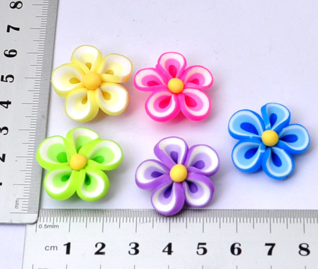 wholesale 10pcs mixed RT006 25MM polymer clay rose flower accessory jewelry supply  mobile phone beauty [JCZL DIY Shop]