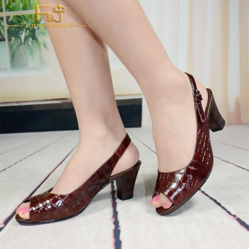 Women Shoes Ladies Pumps 2020 Spring Autumn Brown Slingback Peep Toe Chunky Heel  Plus Size Shoes11 12 13