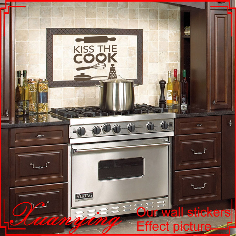 Kitchen Kiss The Cook Quote Wall Stickers Art Dining Room Removable Decals DIY