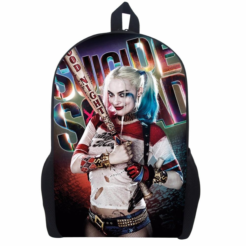 17 Inch Suicide Squad Backpack For Teenager Children Harley Quinn Joker School Bags Mens Women Shoulder Bag #3