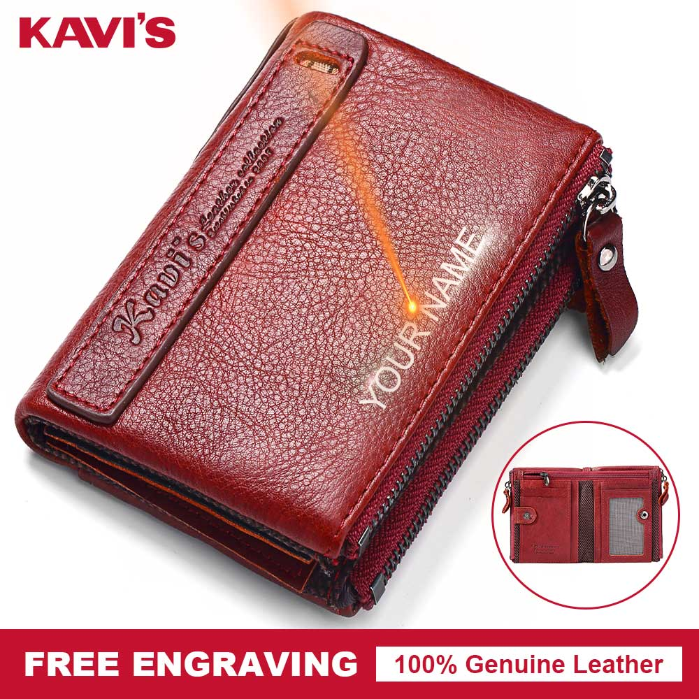 KAVIS Genuine Leather Women Wallet Gift For Female Walet Portomonee Lady Perse Coin Purse Card Holder  Free Engrave For Gift