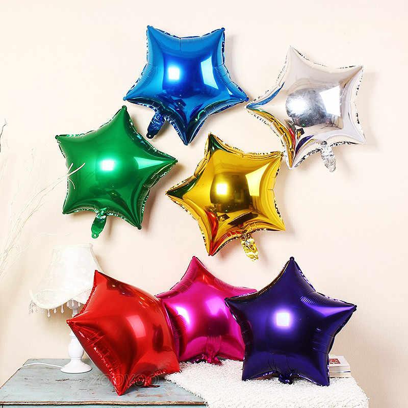 5pcs Mini Star บอลลูนฟอยล์ Air จัดงานแต่งงาน Moon ฟอยล์ลูกโป่งวันเกิดตกแต่งเด็กทารกเด็กผู้หญิง