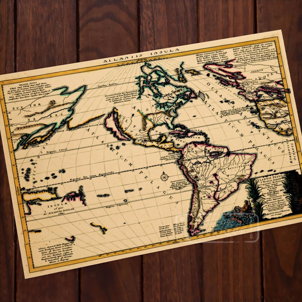 South America landscape Map Classic Vintage Retro Kraft Decorative ...