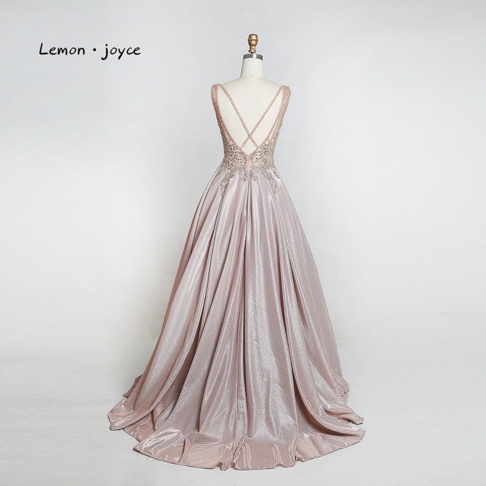 Image 5 - Lemon joyce Elegant Long Prom Dresses 2019 Sexy V neck Backless Beading Shiny A line Evening Gowns Plus Size vestidos de gala-in Prom Dresses from Weddings & Events
