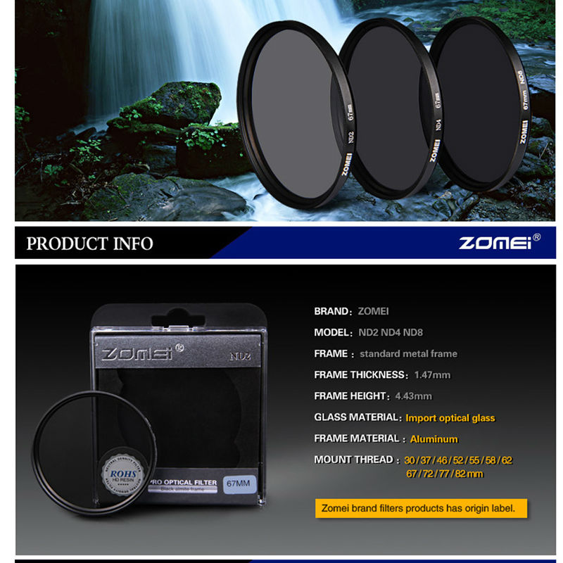 Zomei Slim Neutral Density Filter ND8 ND 2/4 8 52mm 55mm 62mm 67mm 72mm 72 nd filter 77mm for Canon Sony Pentax Dslr Camera Lens 2