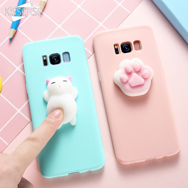 new product 95e15 02c7e KISSCASE Squishy Cat Phone Case For Samsung Galaxy S8 S7 S6 Note 8 J3 J5 J7  A3 A5 A7 2017 Cases 3D Cute Silicon Slim Girly Cover