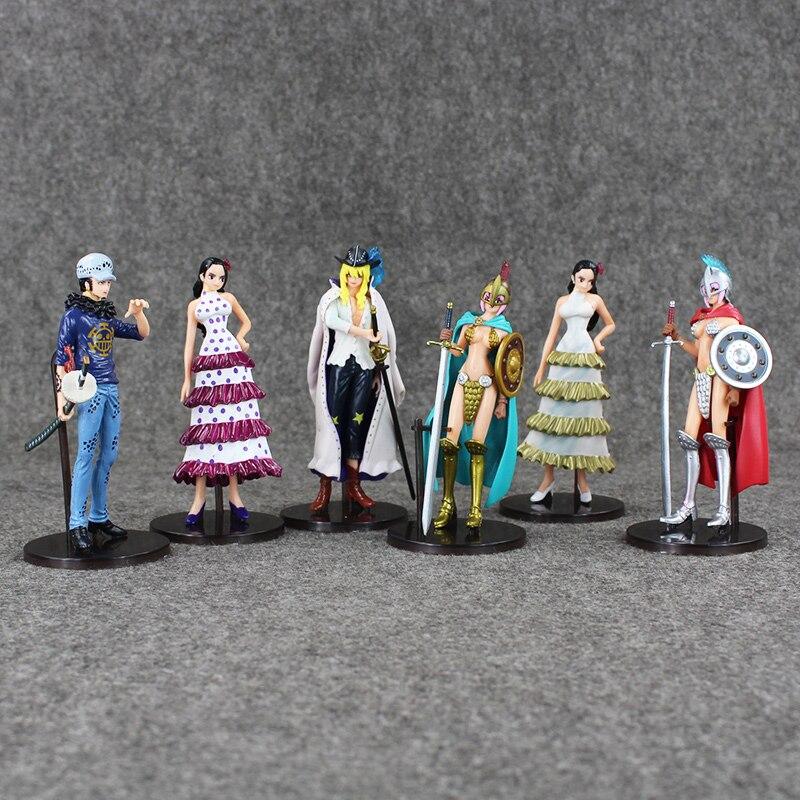 6Pcs/Set 13~14cm Anime One Piece Figures Cavendish Rebecca Boa Hancock Trafalgar Law PVC Figure Toys Model Dolls Great Gift 10pcs set anime cute one piece 2 years later pvc acton figure model collection toys dolls op075