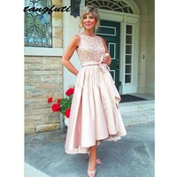 Pink Mother of the Bride Dresses for Weddings Beaded Women Party Tea Length A Line Evening Dress Groom Godmother Gowns