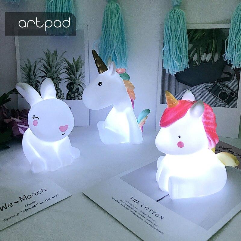 Artpad bebé luz de la noche LED forma unicornio lámpara luz de estado de ánimo bebé vivero lámpara gran para el regalo de los niños dormitorio decoración noche lámparas