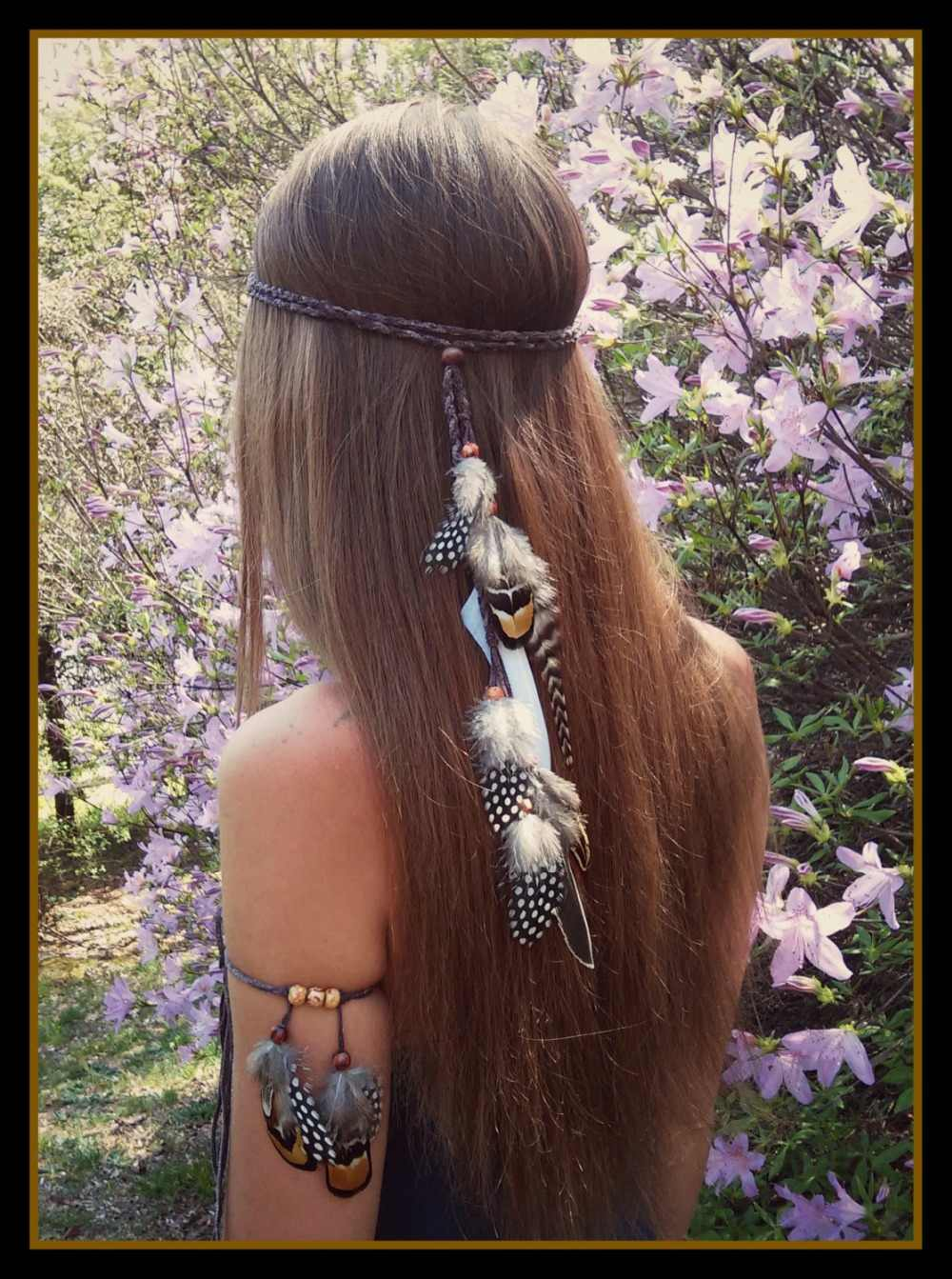 Indian Handmade Tribal Hair Feather Stone Rope Head pieces Gypsy Beautiful Boho Headband Hairband Armlet Hippie Jewelry Sets