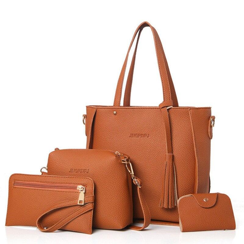 Women Bag Set Top-Handle Big Capacity Female Tassel Handbag Fashion Shoulder Bag Purse Ladies PU Leather Crossbody Bag 2