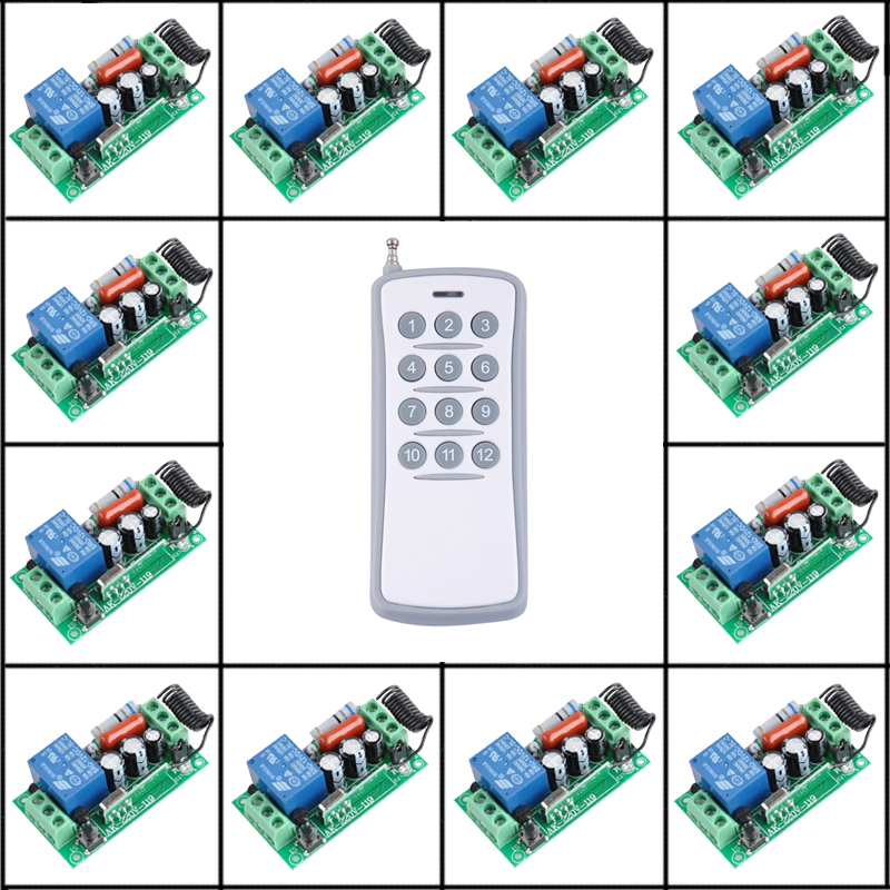 220V 1CH Radio Wireless Remote Control Switch 12 Receiver 1 transmitter Learning Codelight lamp LED ON