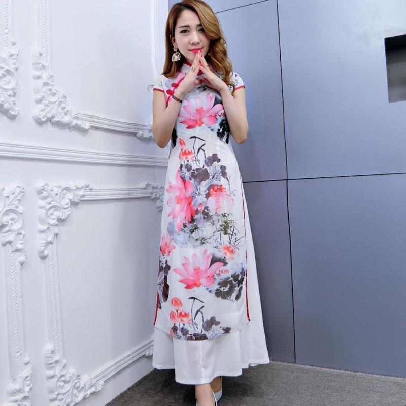 2017 verano ao dai qipao ropa de mujer china de calidad superior de - Ropa nacional